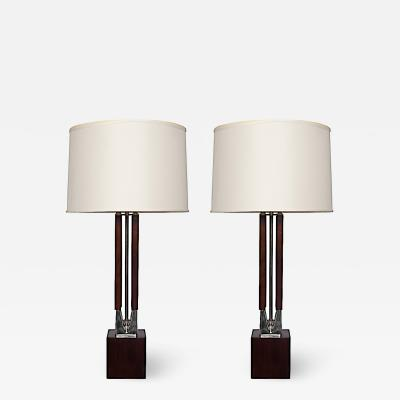 Pair Walnut and Chrome Table Lamps
