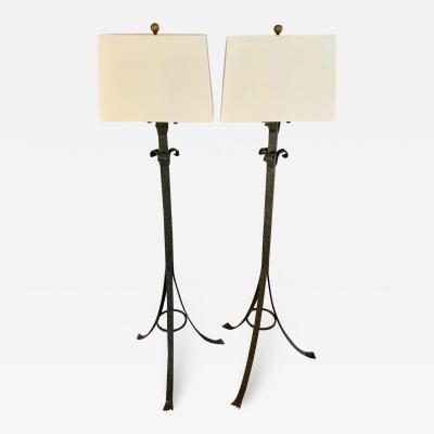 Pair Wrought Iron Floor Lamps