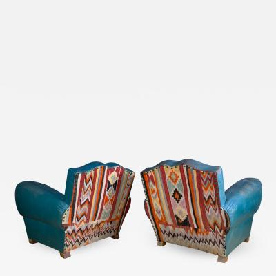 Pair c1940 French Mustache Chairs by Erton Vintage Kilim