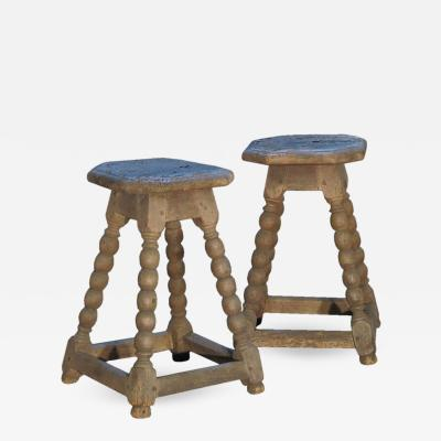 Pair of 17th Century Rustic Stools