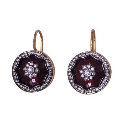 Pair of 18 Karat Diamond Enamel Earrings 20th Century