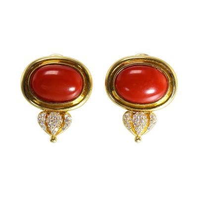 Pair of 18 Karat Gold Coral and Diamond Earclips