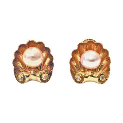 Pair of 18K cultured Pearl and Diamond Earrings C 1940