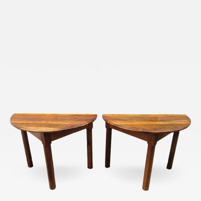 Pair of 18th C French Provincial Fruitwood Demilune Tables
