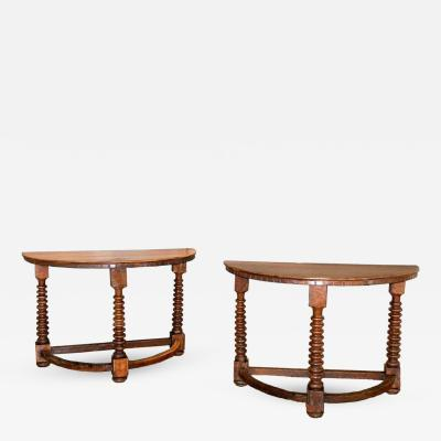 Pair of 18th C Italian Demilune Walnut Consoles
