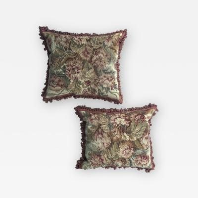 Pair of 18th Century French Floral Tapestry Large Square Cushions