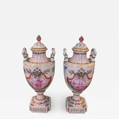 Pair of 18th Century Hand Painted French Urns