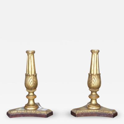 Pair of 18th Century Italian Neoclassical Giltwood Candleholders