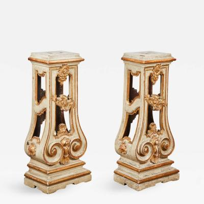 Pair of 18th Century Italian Rococo Cream Painted and Parcel Gilt Pedestal