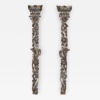 Pair of 18th Century Italian Silvergilt and Carved Wall Appliques