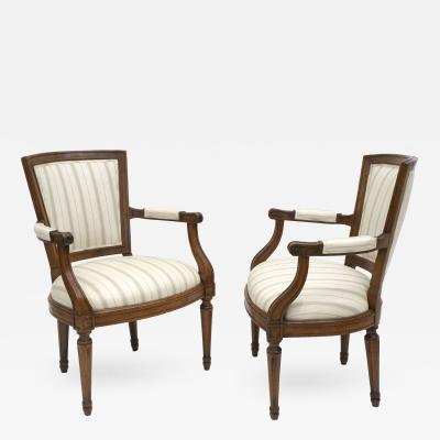 Pair of 18th Century Italian Walnut Armchairs Upholstered in Striped Linen