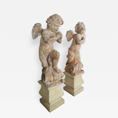 Pair of 18th Century Terra Cotta Cherubs by Claude Clodion
