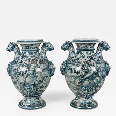 Pair of 18th c Italian Faience Pharmacy Vases