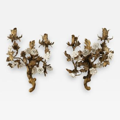 Pair of 18th century gilt tole sconces