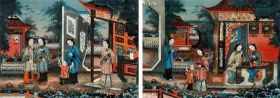 Pair of 19 century Chinese Reverse Painted Mirror Pictures