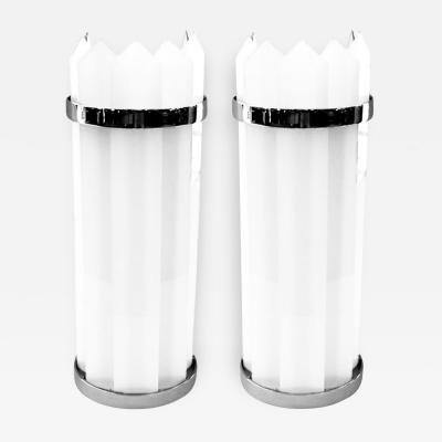 Pair of 1930s American Art Deco Theater Sconces with White Glass Inserts