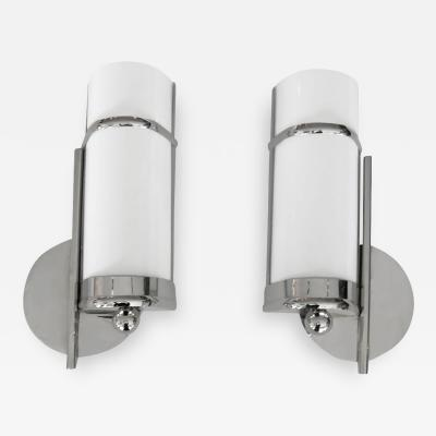 Pair of 1930s Bauhaus Style Streamline Sconces in Nickel w Bent White Glass