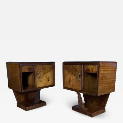 Pair of 1930s Continental Rootwood Mahogany Nightstands