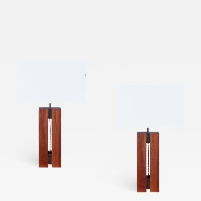 Pair of 1930s Cubist table lamps in mahogany Ebony Macassar