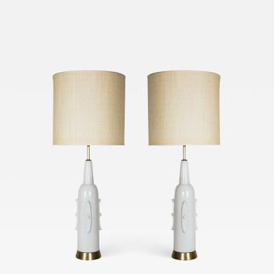 Pair of 1930s art deco ceramic lamps