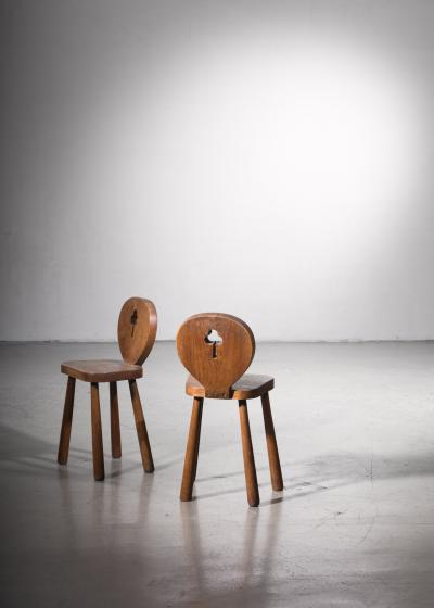 Pair of 1930s oak side chairs