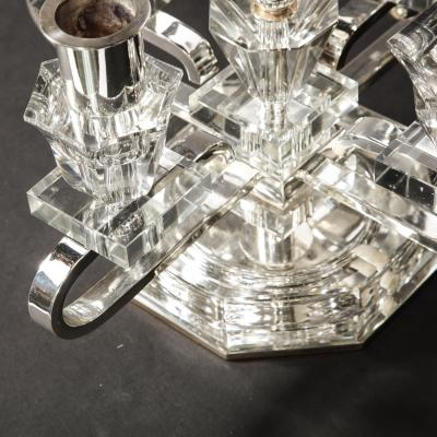Pair of 1940s Art Deco Four Arm Silverplate Crystal Candleholders