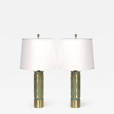 Pair of 1940s Cattails Negative Relief Brass Table Lamps