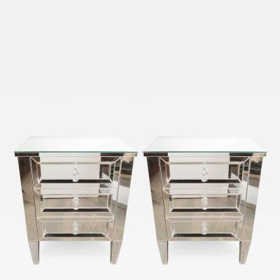 Pair of 1940s Directoire Style Custom Mirrored Nightstands with Three Drawers