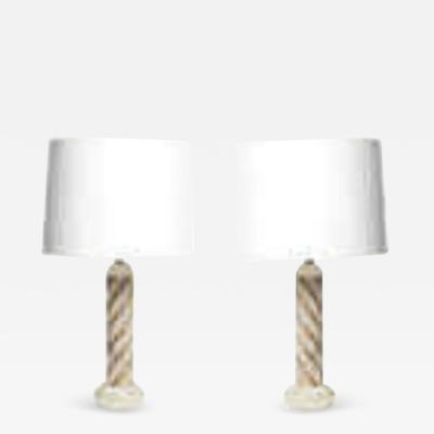Pair of 1940s Italian Classical Modern Alabaster Table Lamps