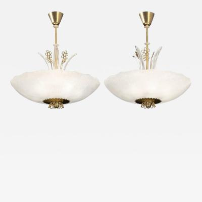 Pair of 1940s Orrefors Glass Chandeliers