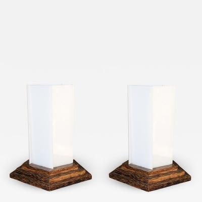Pair of 1940s Palmwood Lamps