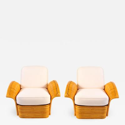 Pair of 1950s American rattan armchairs matching sofa