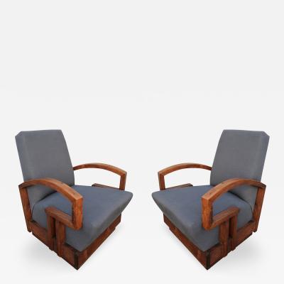 Pair of 1950s Art Deco Armchairs