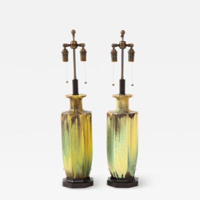 Pair of 1950s Glazed Ceramic Lamps