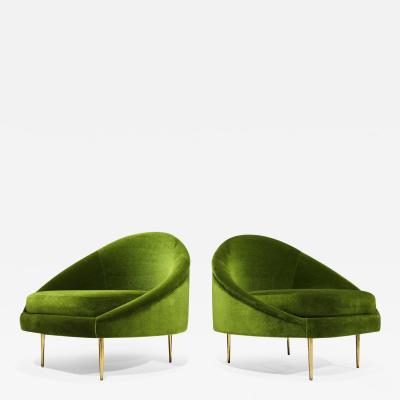 Pair of 1950s Italian Lounge Chairs in Holly Hunt Great Plains Green