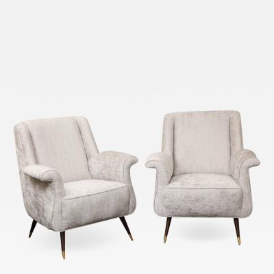 Pair of 1950s Italian Petite Rolled Armchairs in Platinum Velvet