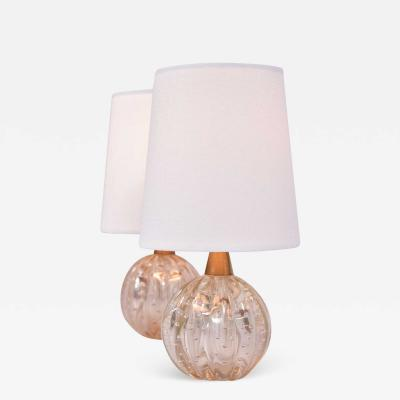 Pair of 1950s pale gold Murano ball lamps