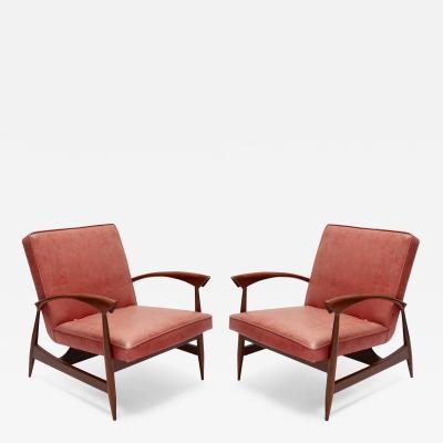 Pair of 1960s Brazilian Caviuna Armchairs