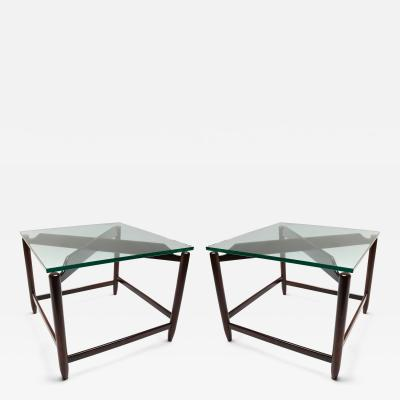 Pair of 1960s Brazilian Jacaranda Side Tables with Glass Top