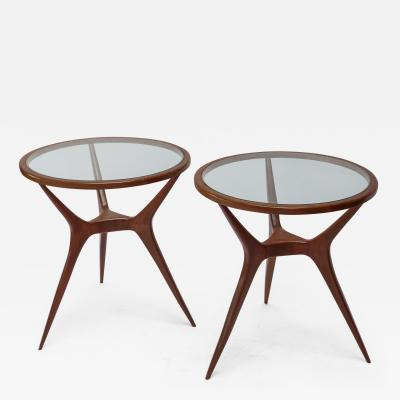 Pair of 1960s Brazilian Spider Leg Wood Side Tables with Glass Tops