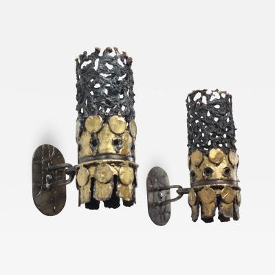 Pair of 1960s Brutalist Torch Cut Steel and Brass Wall Sconces