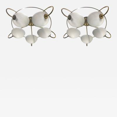 Pair of 1960s Italian Brass and Glass Light Fixtures Chandeliers