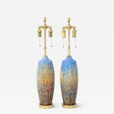Pair of 1960s Italian Glazed Ceramic Lamps