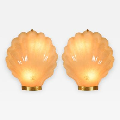 Pair of 1960s Italian shell wall lights