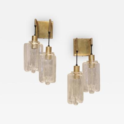 Pair of 1960s Kalmar Glass and Brass Sconces