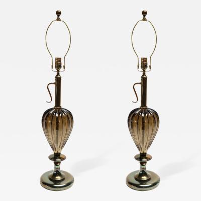 Pair of 1960s Murano Glass Lamps with Brass Details