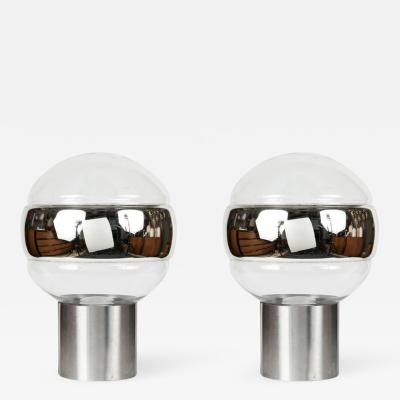 Pair of 1960s Peill Putzler Glass Globe Table Lamps