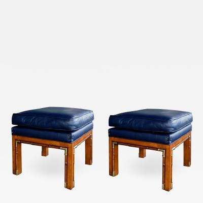 Pair of 1960s Square Form Faux Bamboo Beechwood Stools with Brass Mounts