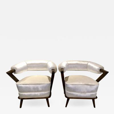 Pair of 1960s White Art Deco Tub Armchairs