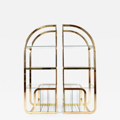 Pair of 1970s Mid Century American brass display shelves room divider